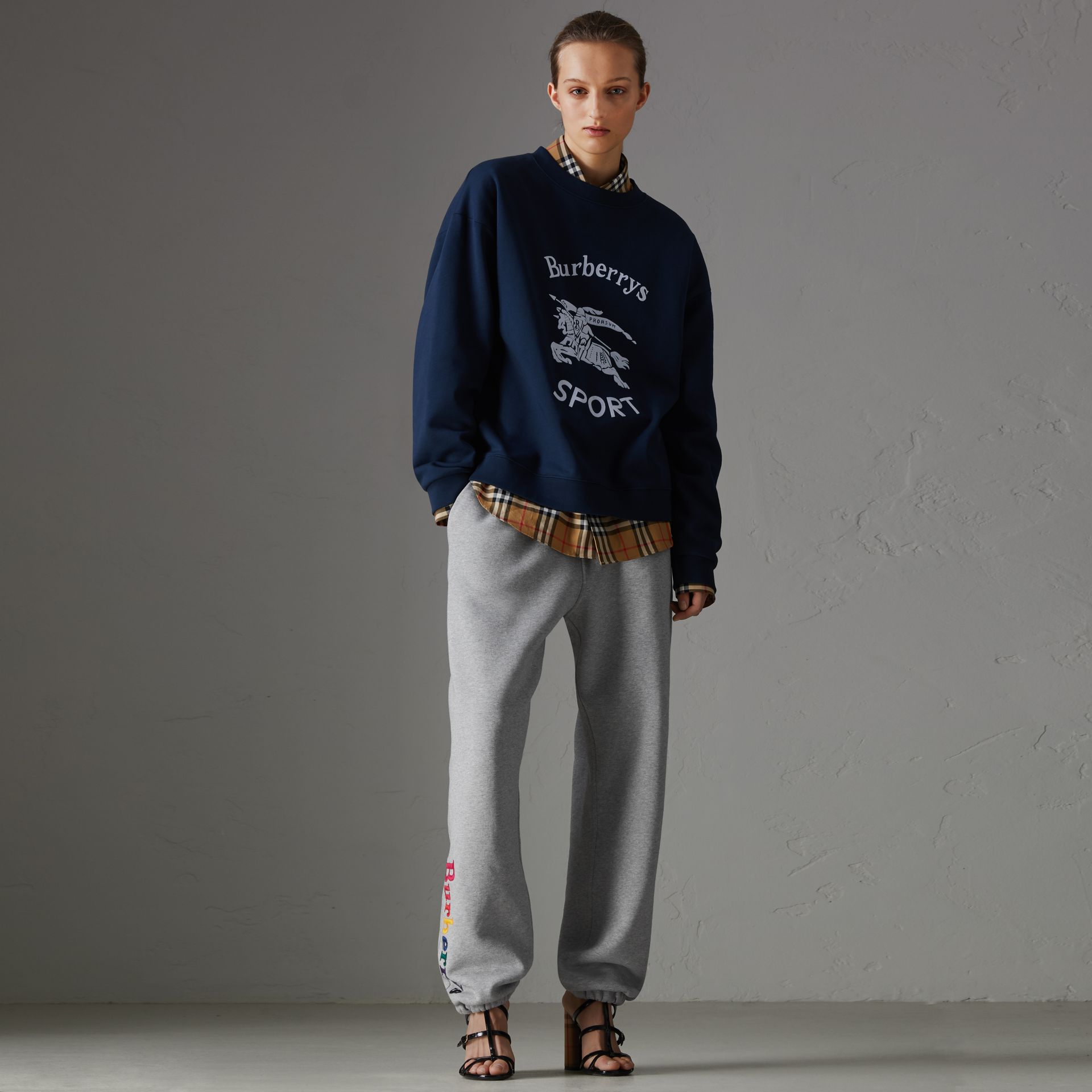 Archive Logo Jersey Sweatpants in Grey Melange - Women | Burberry - gallery image 0