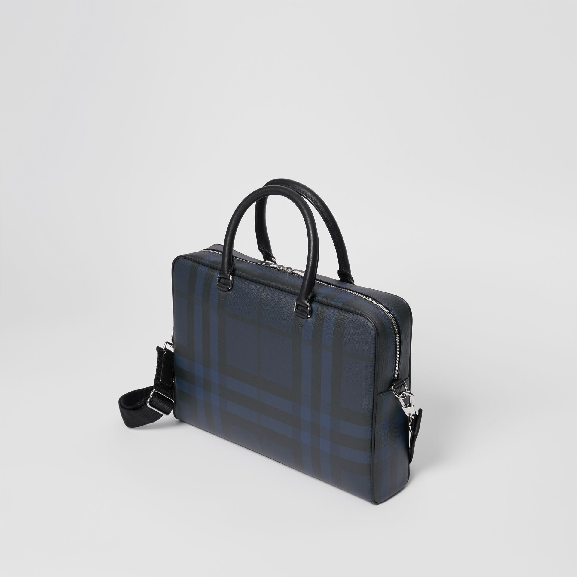 London Check and Leather Briefcase in Navy/black - Men | Burberry - gallery image 2