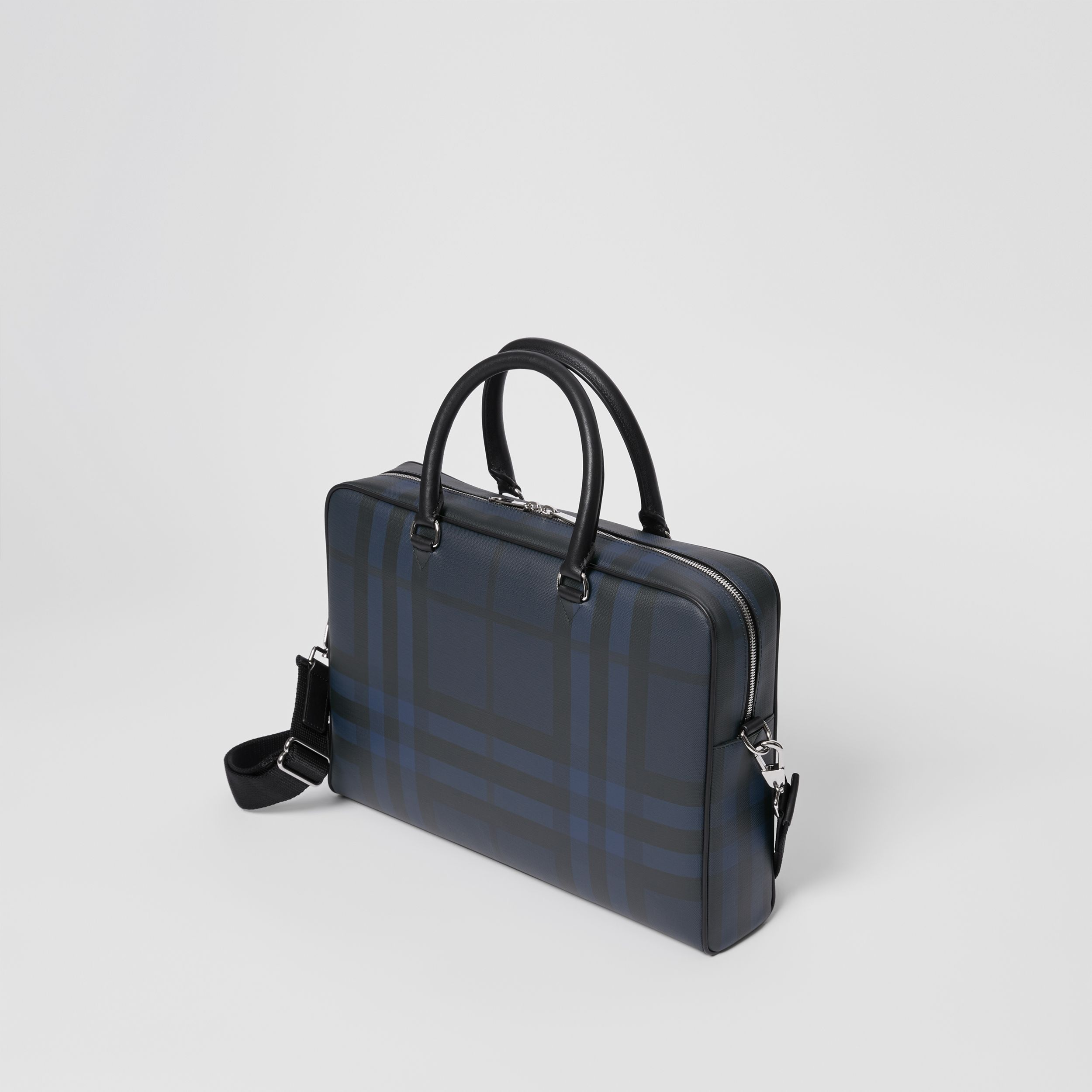 London Check and Leather Briefcase in Navy/black - Men | Burberry - 4