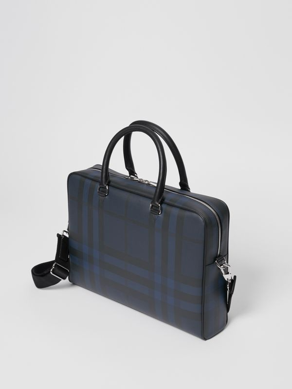 London Check and Leather Briefcase in Navy/black - Men | Burberry - cell image 2