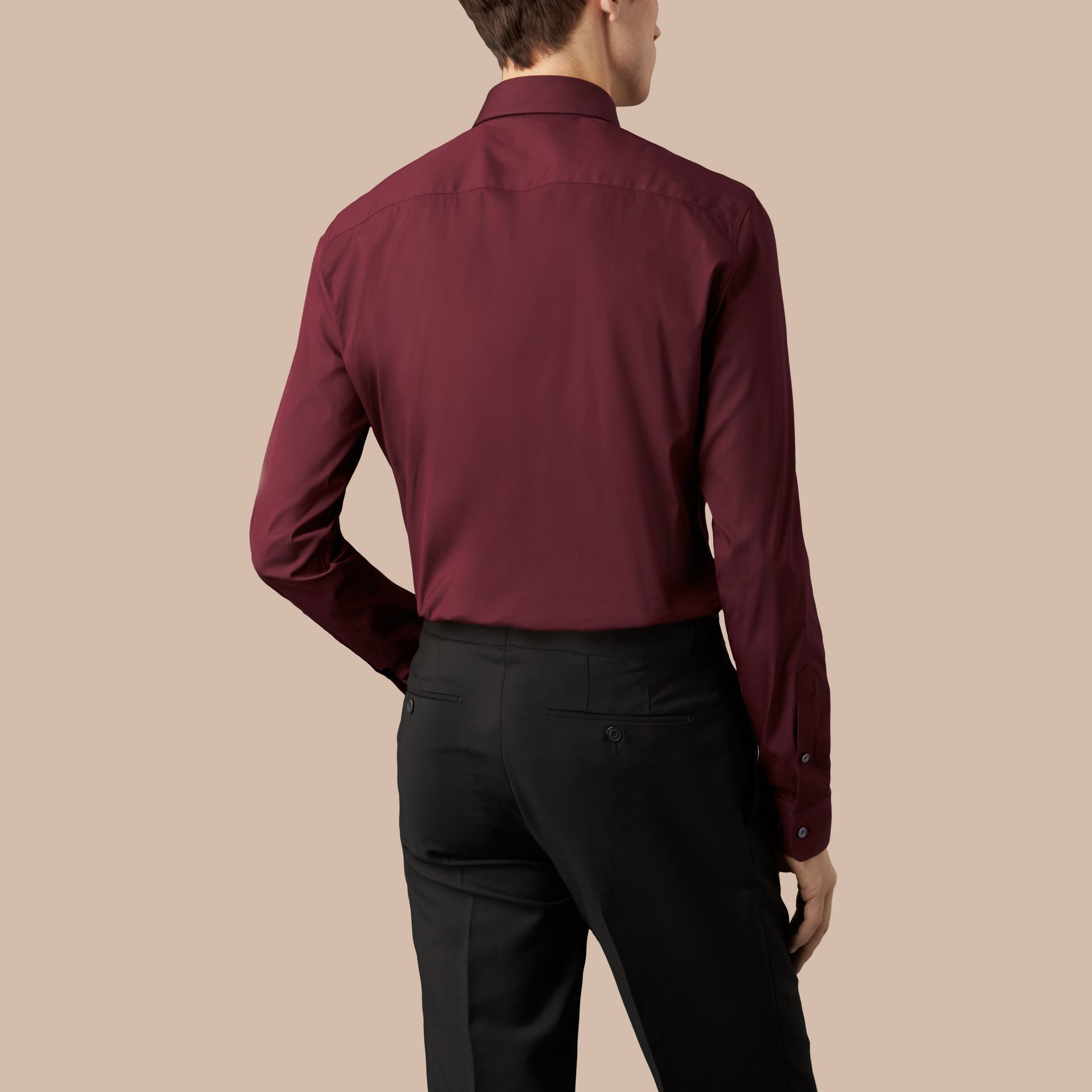 Slim Fit Stretch Cotton Shirt in Mahogany Red - gallery image 3