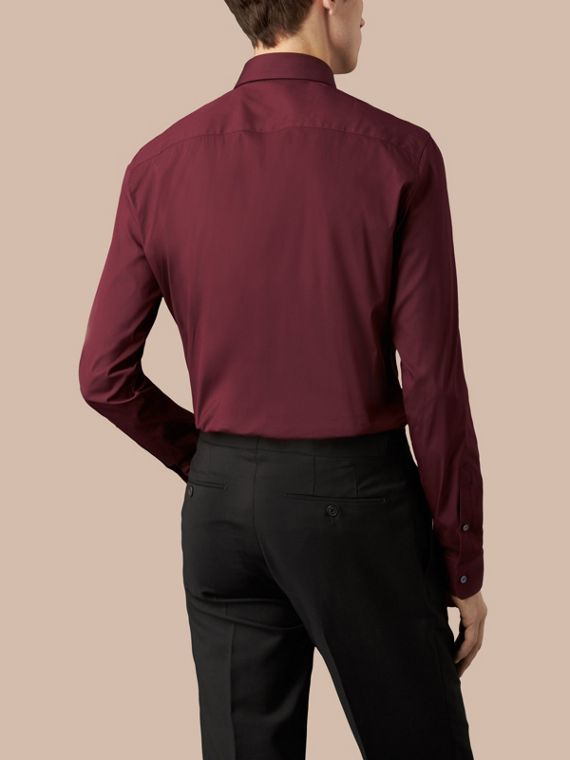 Slim Fit Stretch Cotton Shirt in Mahogany Red - cell image 2