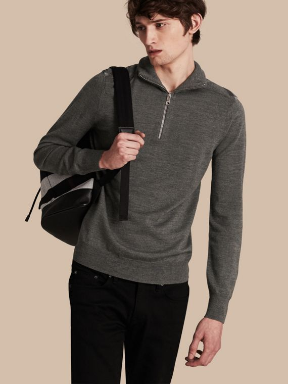 Zip-collar Merino Wool Sweater in Mid Grey Melange