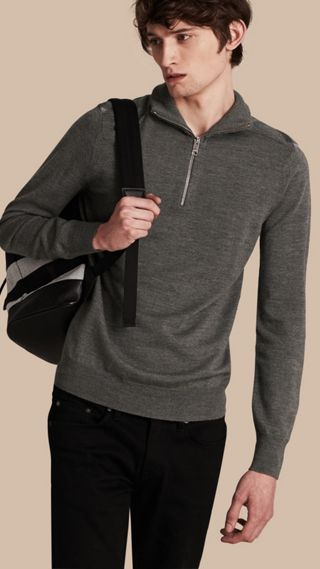 Zip-collar Merino Wool Sweater