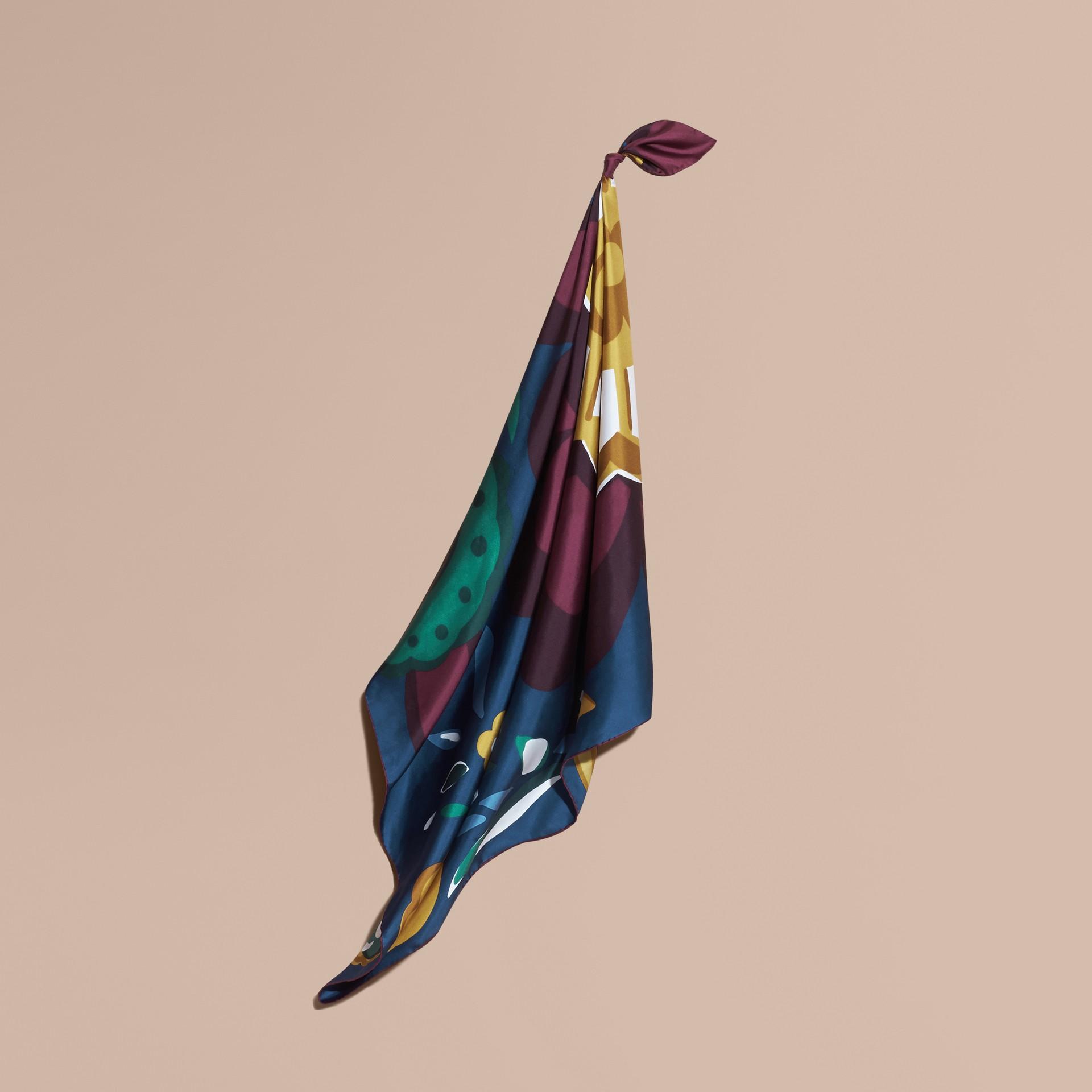 Dark cyan blue Lenço médio de seda com estampa floral abstrata Dark Cyan Blue - galeria de imagens 1