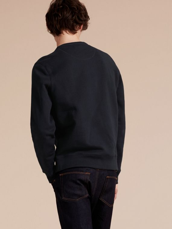 Cotton Blend Jersey Sweatshirt in Navy - cell image 2