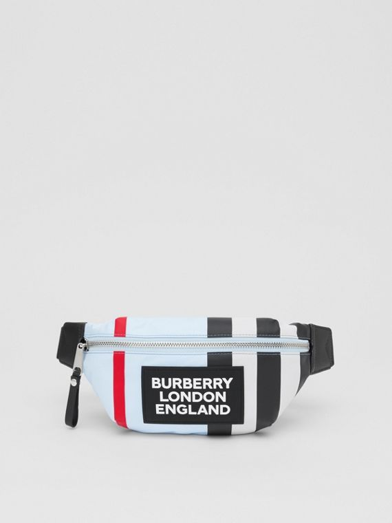 Logo Appliqué Icon Stripe ECONYL® Bum Bag in Pale Blue