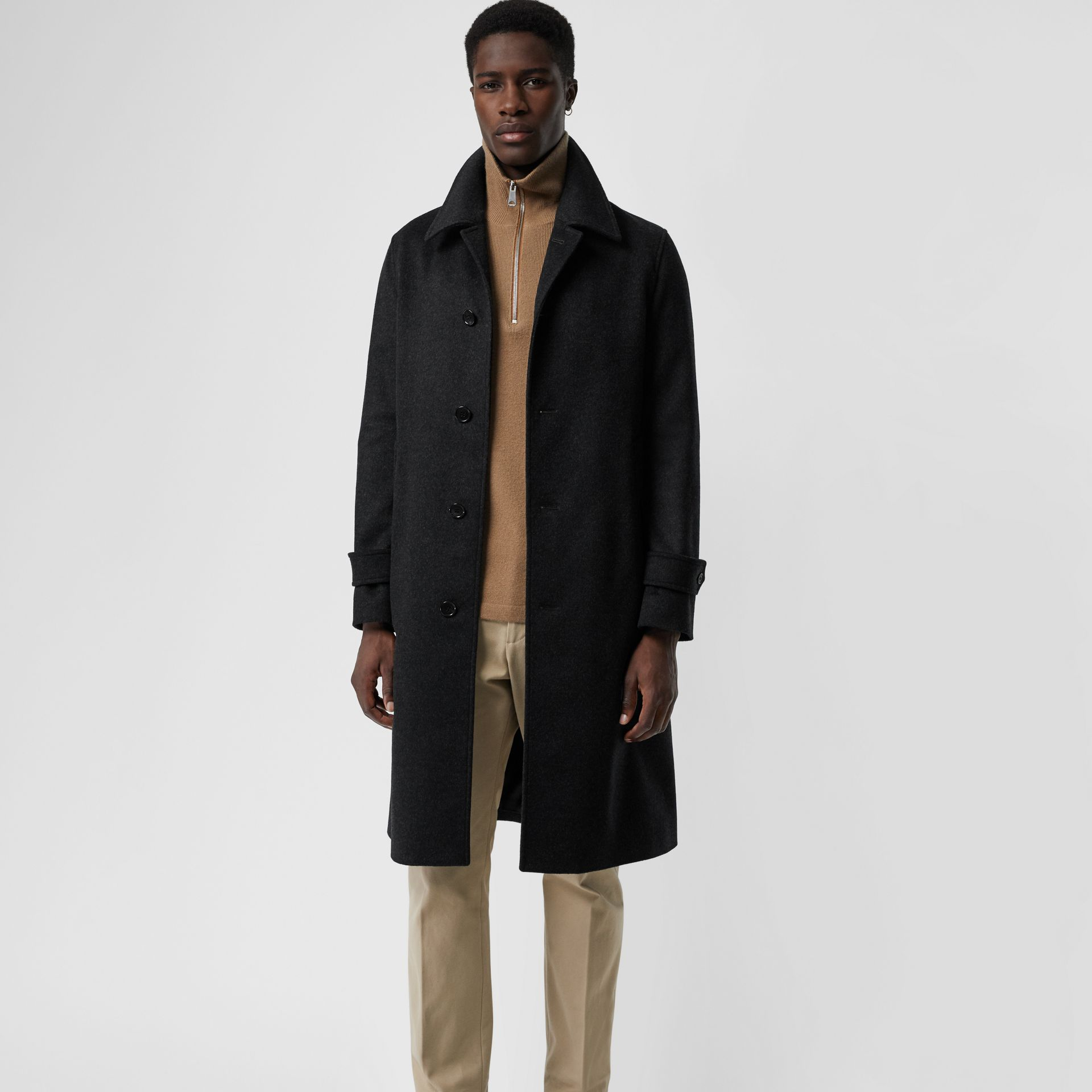 Wool Cashmere Car Coat with Detachable Gilet in Dark Grey Melange - Men | Burberry - gallery image 7