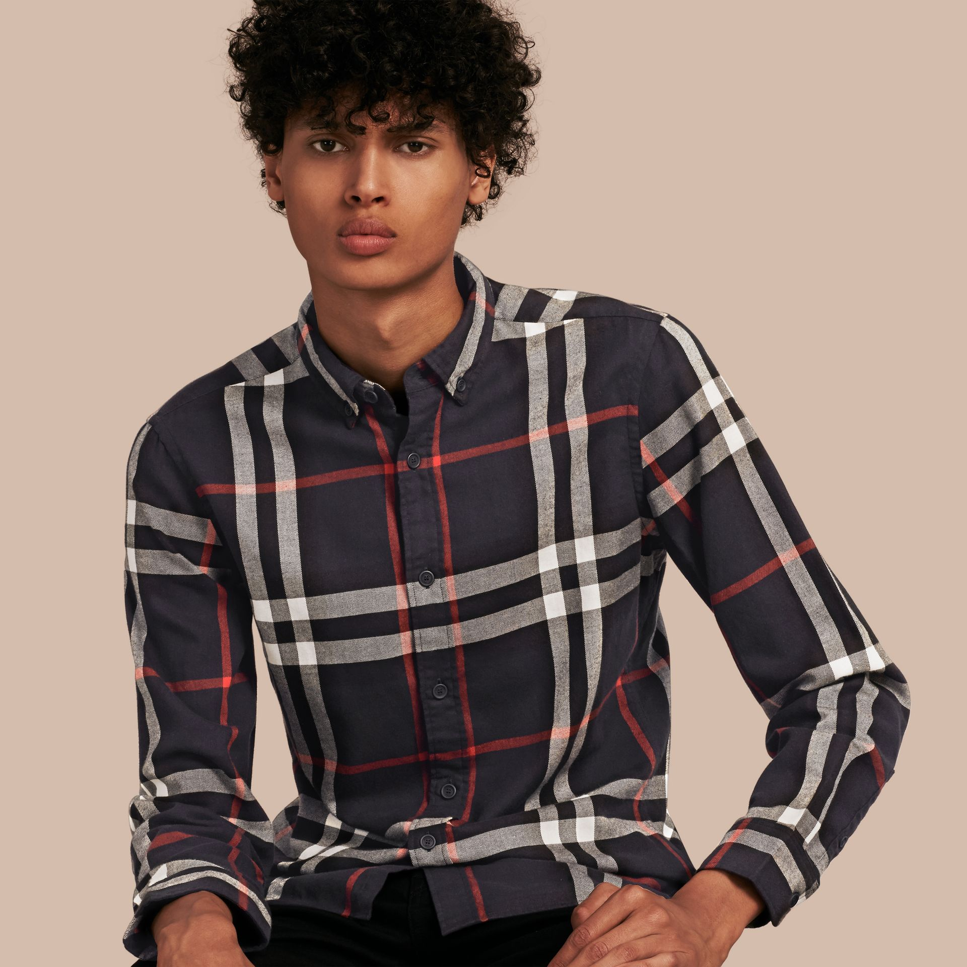 Navy Check Cotton Flannel Shirt Navy - gallery image 1
