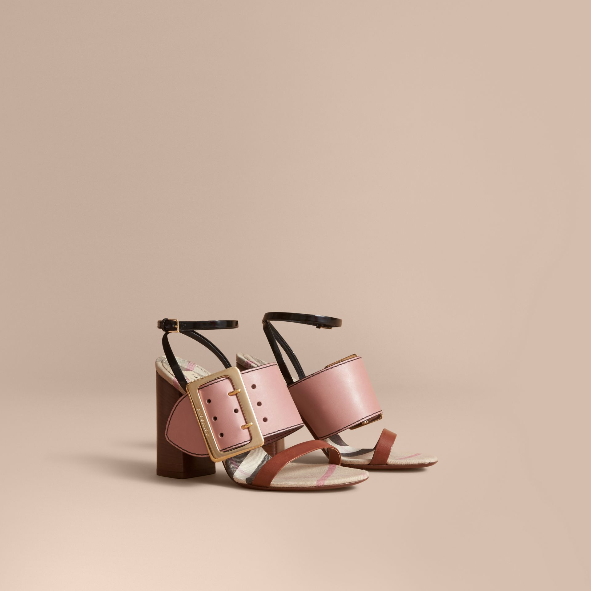 Buckle Detail Colour Block Leather Sandals in Nude Pink - Women | Burberry - gallery image 0