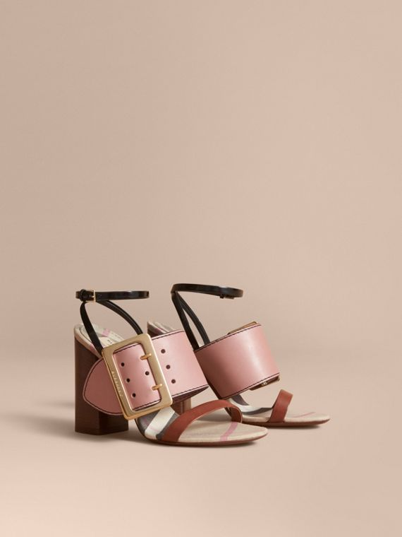 Buckle Detail Colour Block Leather Sandals