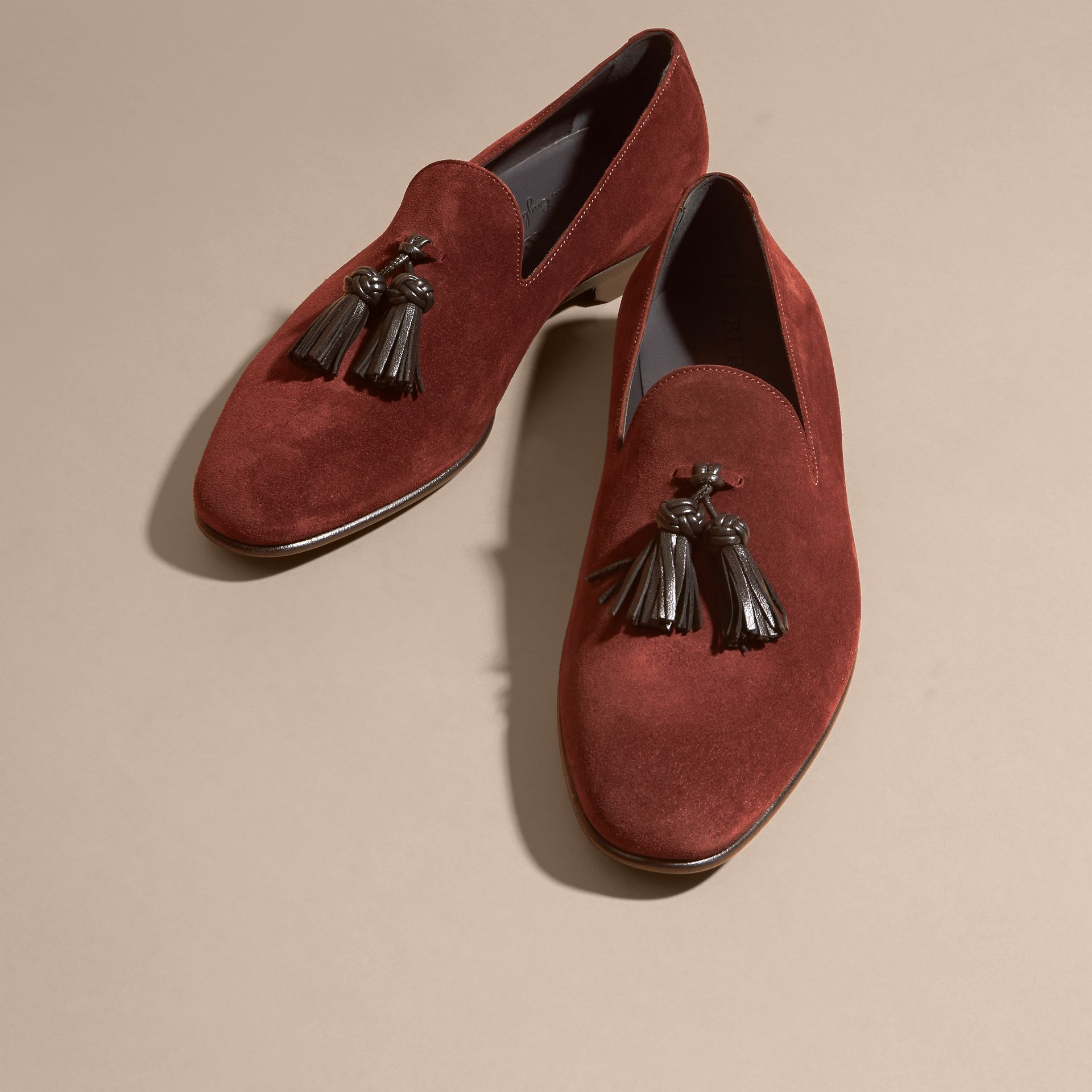Deep aubergine Whole-cut Suede Tassel Loafers Deep Aubergine - gallery image 3