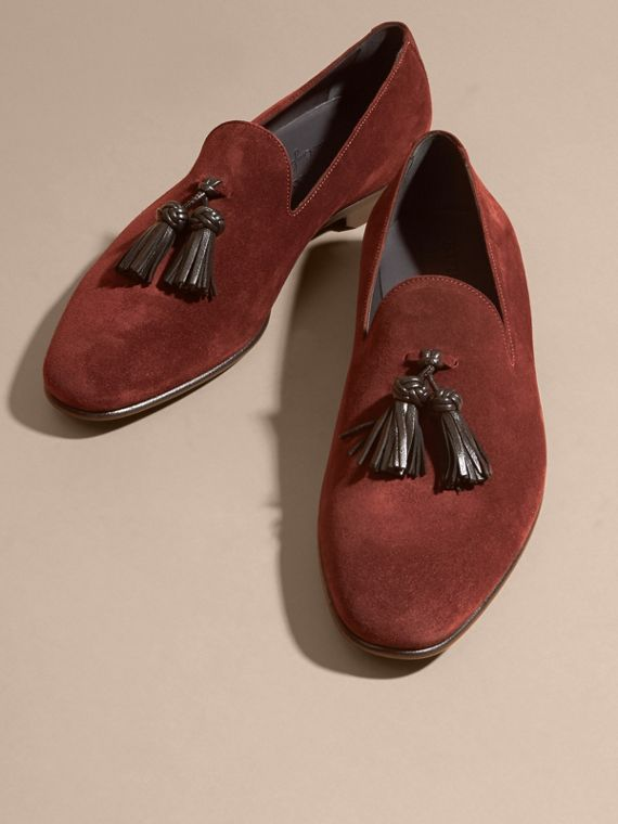 Deep aubergine Whole-cut Suede Tassel Loafers Deep Aubergine - cell image 2