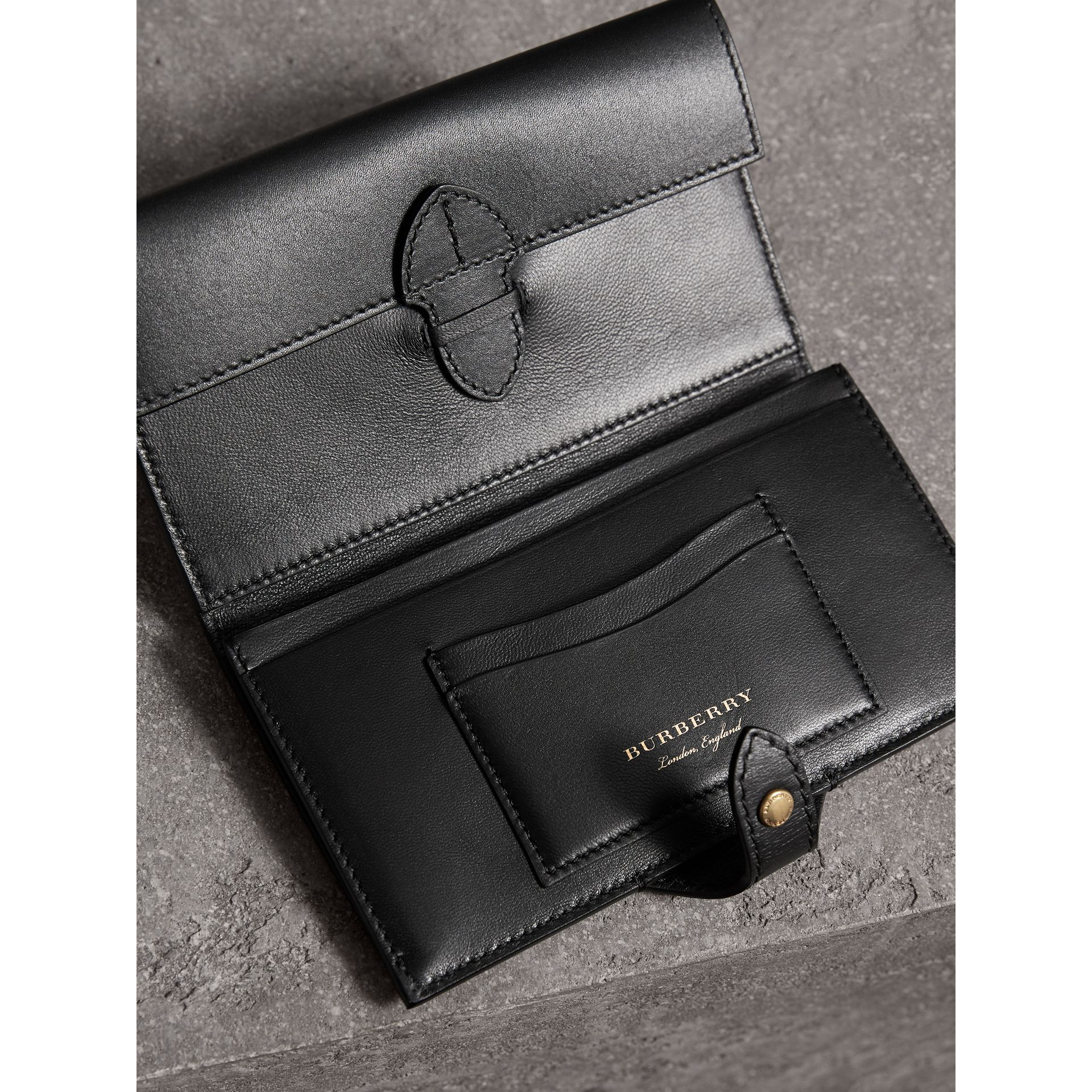 Riveted Equestrian Shield Leather Continental Wallet in Black - Women | Burberry - gallery image 3