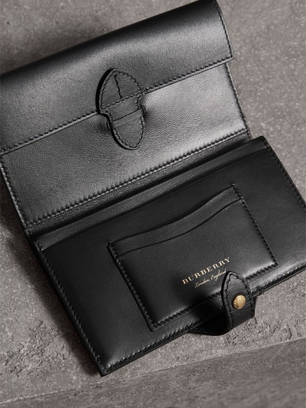 Riveted Equestrian Shield Leather Continental Wallet in Black - Women | Burberry - cell image 3