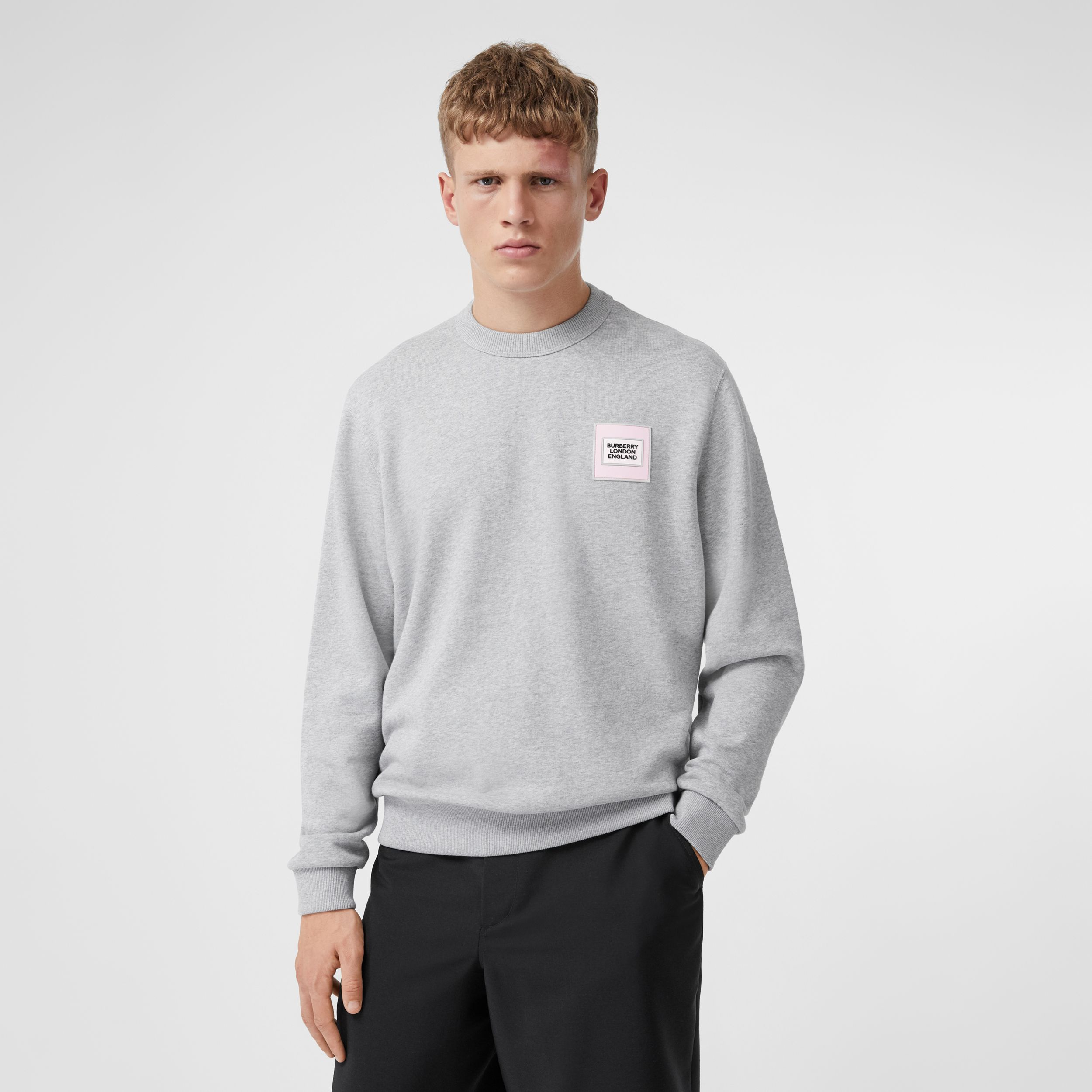 Logo Appliqué Cotton Sweatshirt in Pale Grey Melange - Men | Burberry - 1
