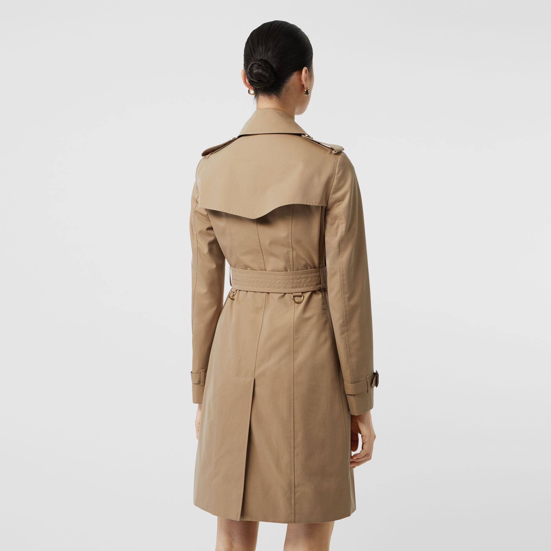 Gold Button Cotton Gabardine Trench Coat in Honey - Women | Burberry - gallery image 2