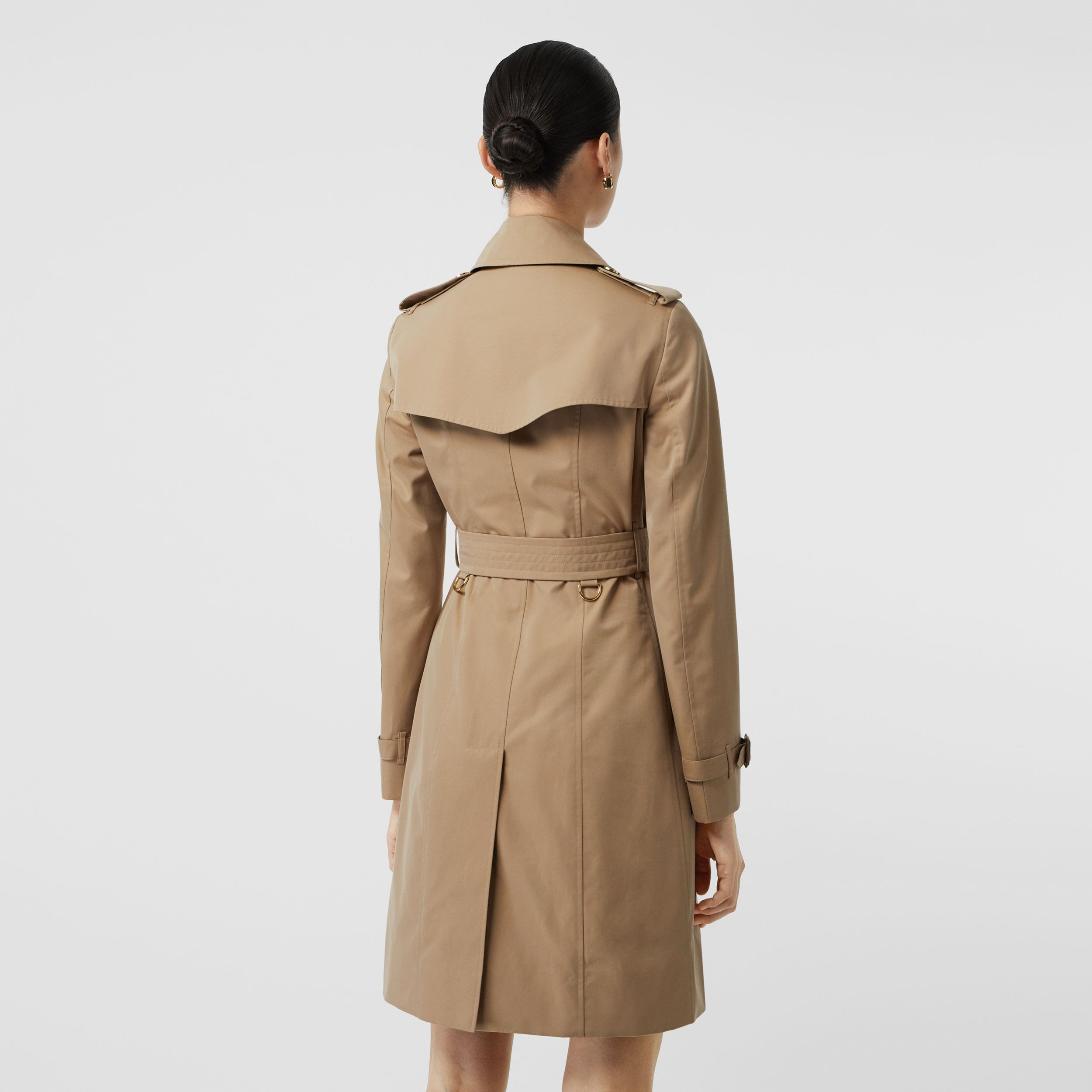 Gold Button Cotton Gabardine Trench Coat in Honey - Women | Burberry - 3