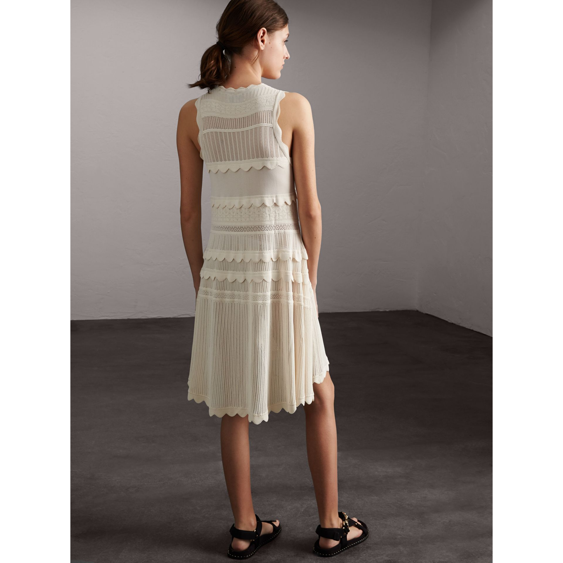 Scallop Detail Multi-stitch Swing Dress in Natural White - Women | Burberry - gallery image 3