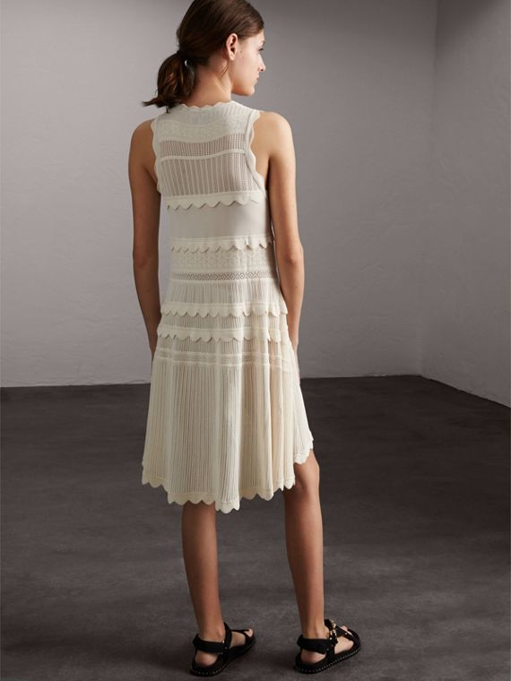 Scallop Detail Multi-stitch Swing Dress in Natural White - Women | Burberry - cell image 2