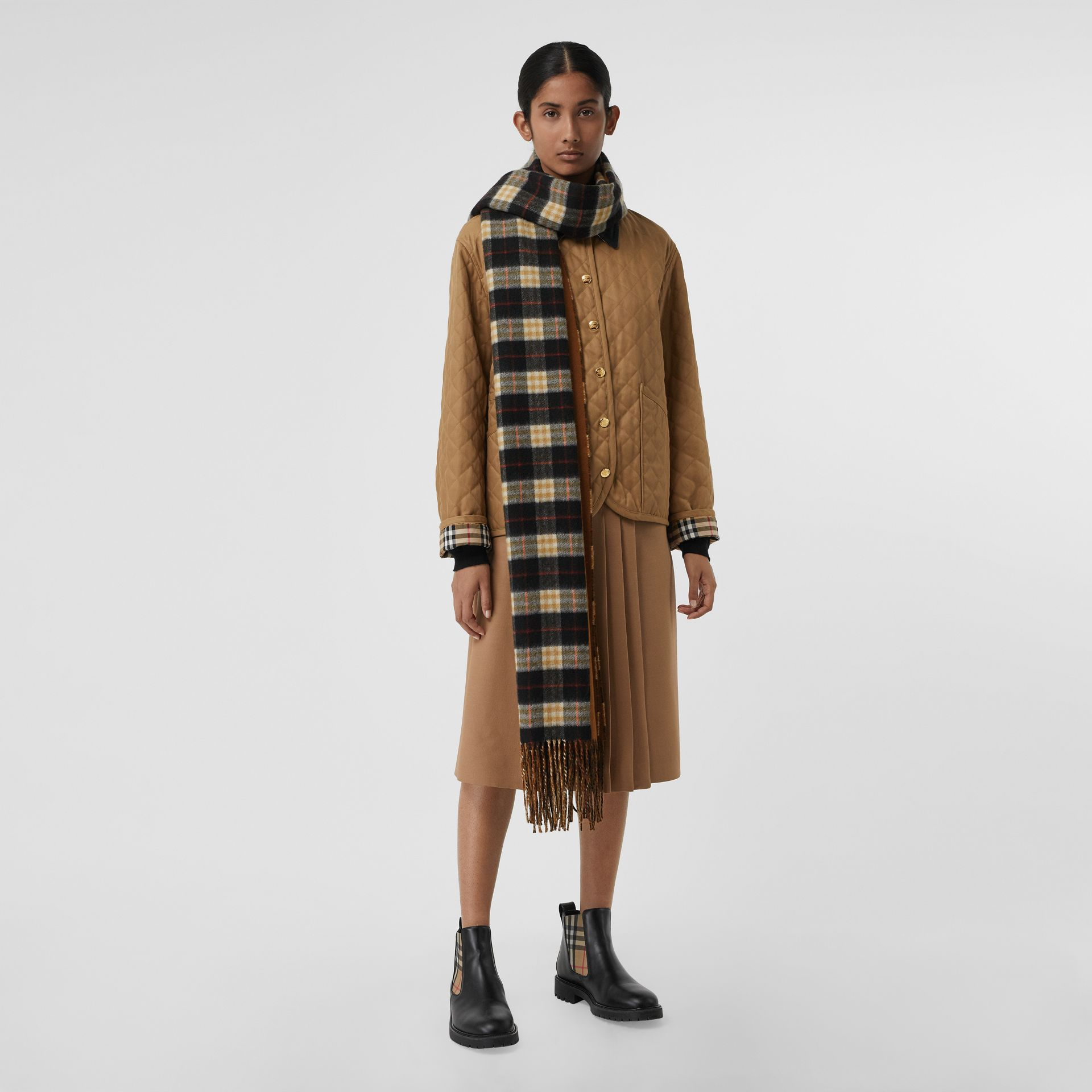 Colour Block Vintage Check Cashmere Scarf in Toffee | Burberry - gallery image 2