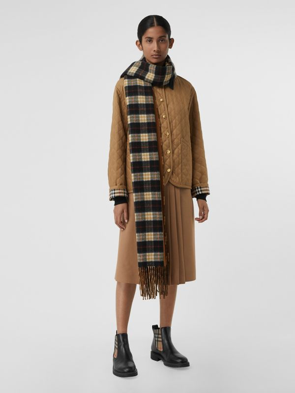 Colour Block Vintage Check Cashmere Scarf in Toffee | Burberry - cell image 2