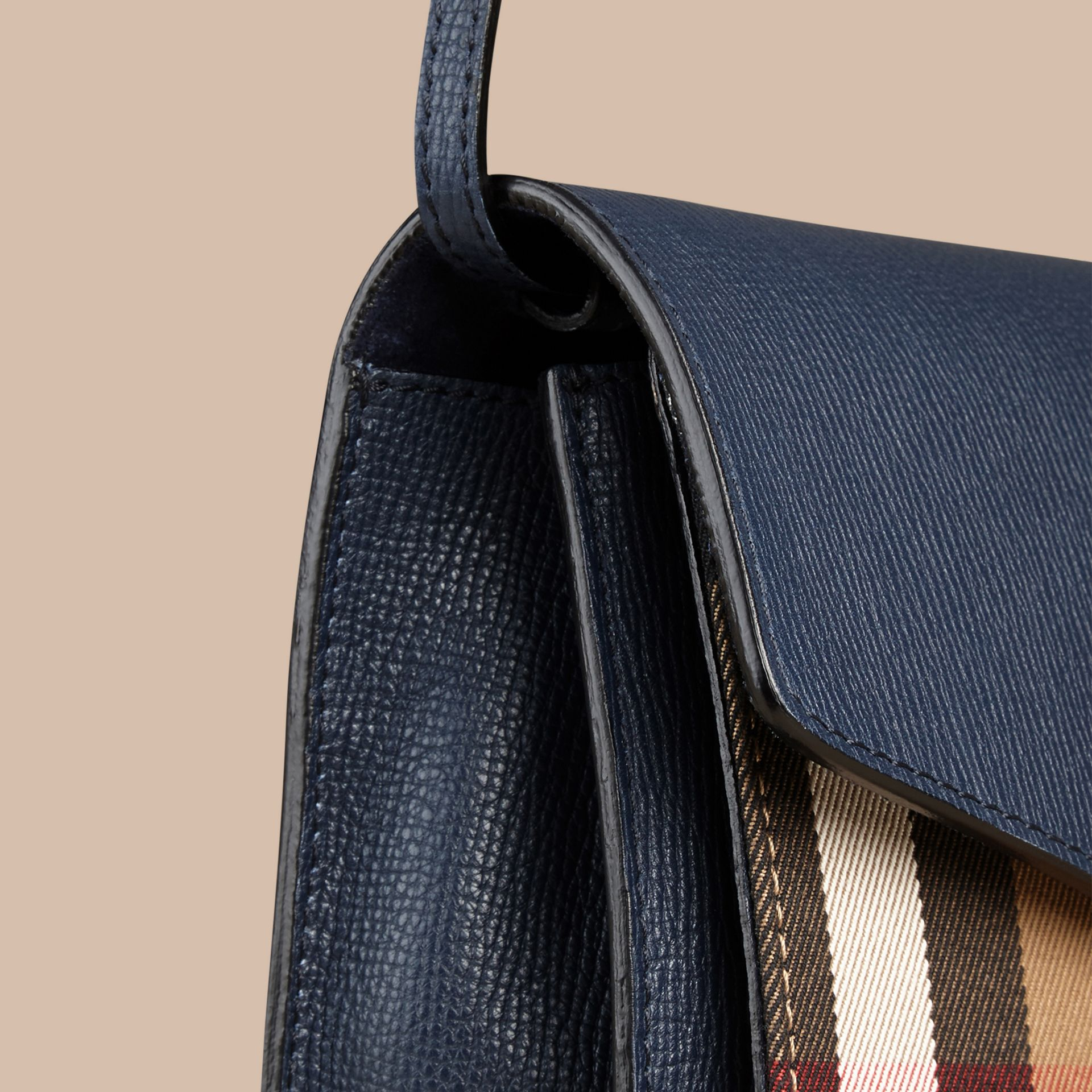 Small Leather and House Check Crossbody Bag in Ink Blue - gallery image 5
