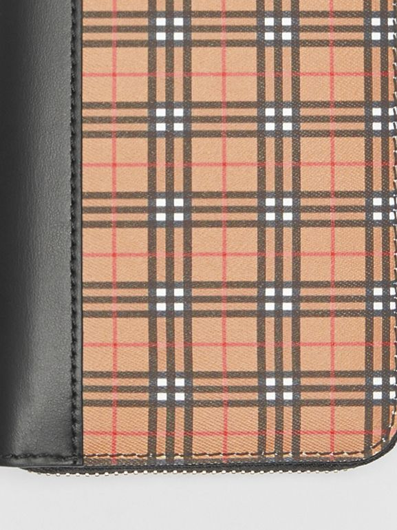 Small Scale Check and Leather Ziparound Wallet in Antique Yellow - Women | Burberry United Kingdom - cell image 1