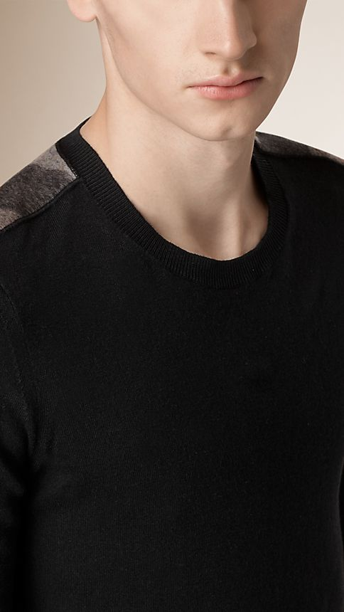 Black Check Detail Cotton Cashmere Sweater Black - Image 3