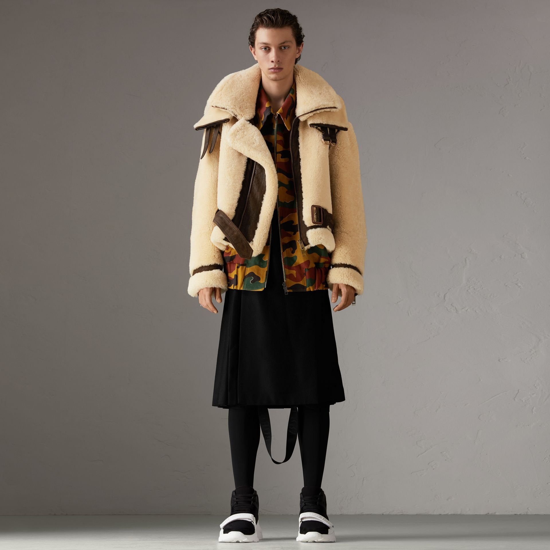 Reissued 2010 Shearling Aviator in Sand | Burberry Singapore - gallery image 0