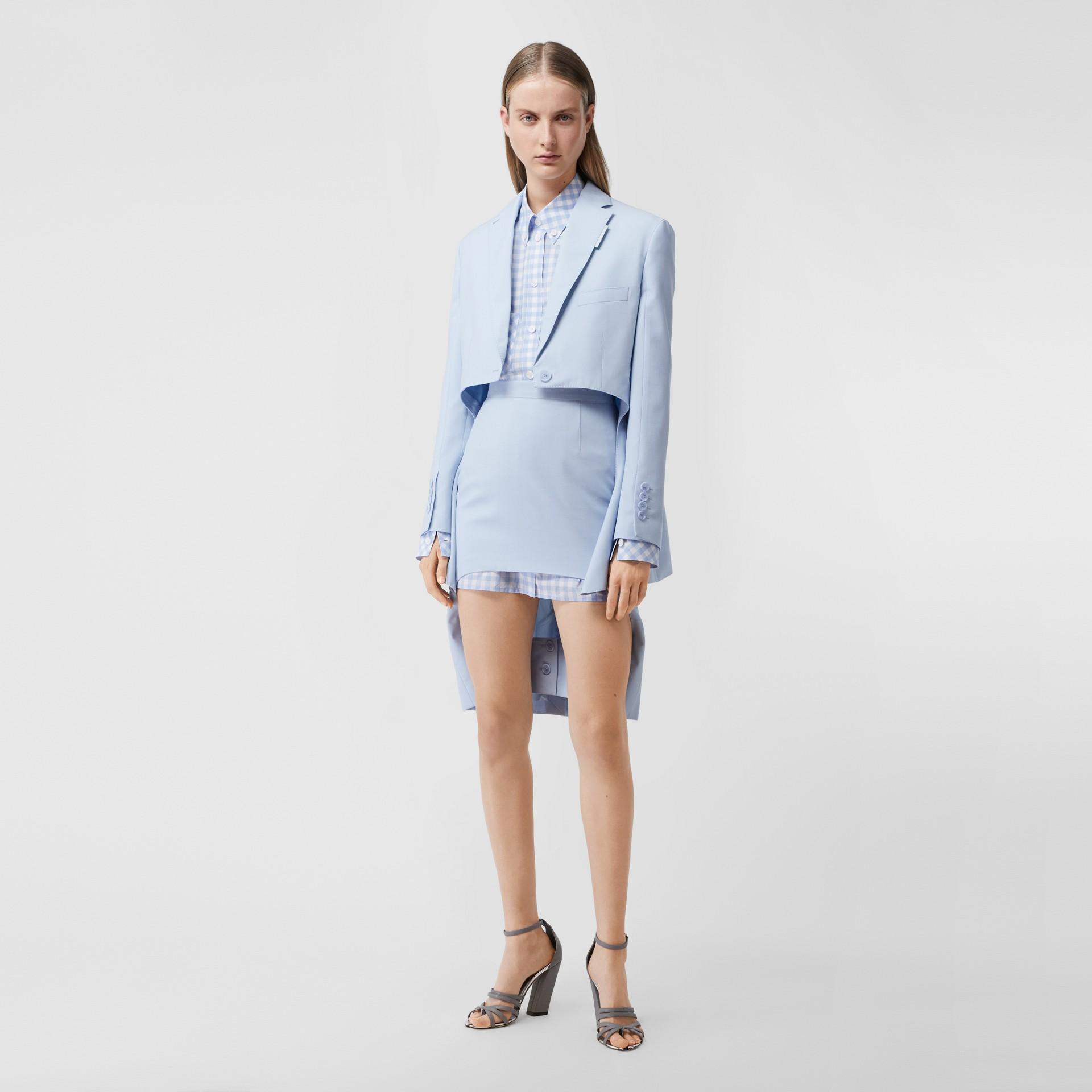 Blazer en laine avec découpe (Bleu Pâle) - Femme | Burberry Canada - photo de la galerie 0