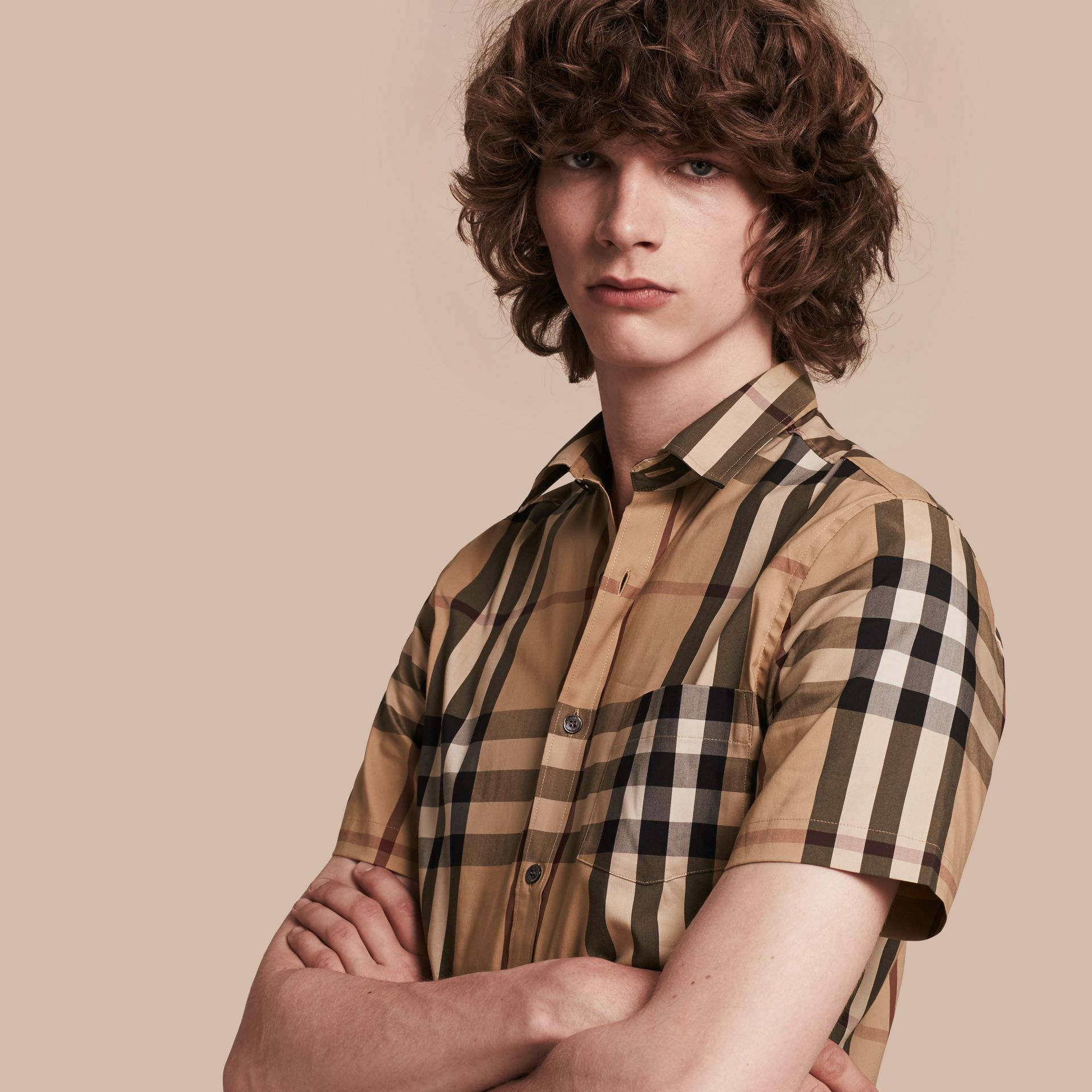 Short-sleeved Check Stretch Cotton Shirt Camel - gallery image 1