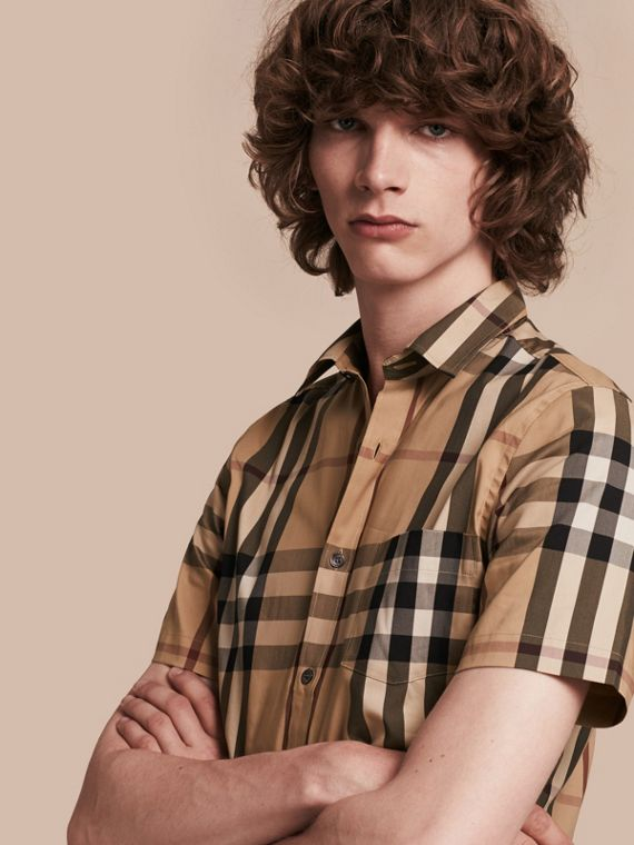 Short-sleeved Check Stretch Cotton Shirt in Camel - Men | Burberry Australia