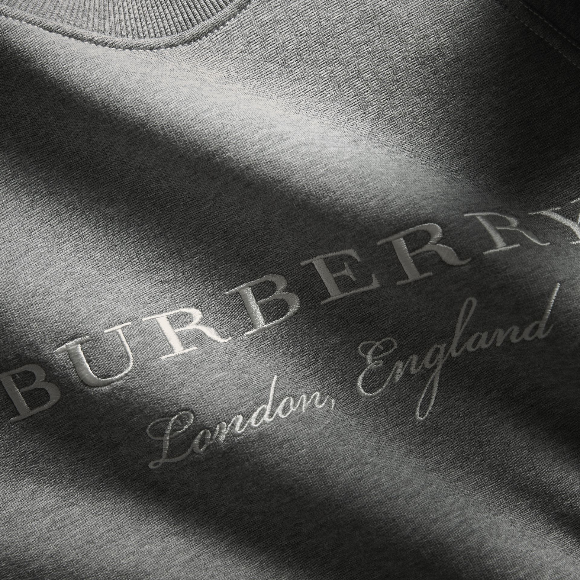 Embroidered Jersey Sweatshirt in Pale Grey Melange - Men | Burberry - gallery image 2