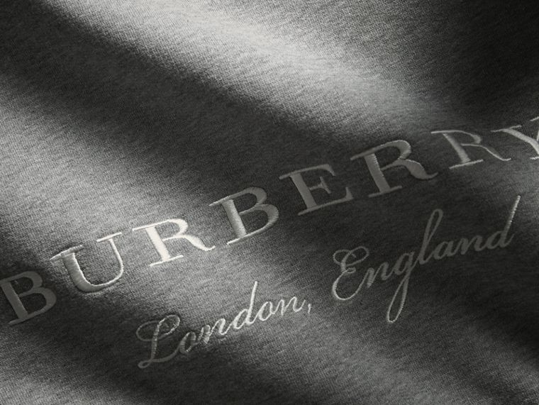 Embroidered Jersey Sweatshirt in Pale Grey Melange - Men | Burberry Australia - cell image 1