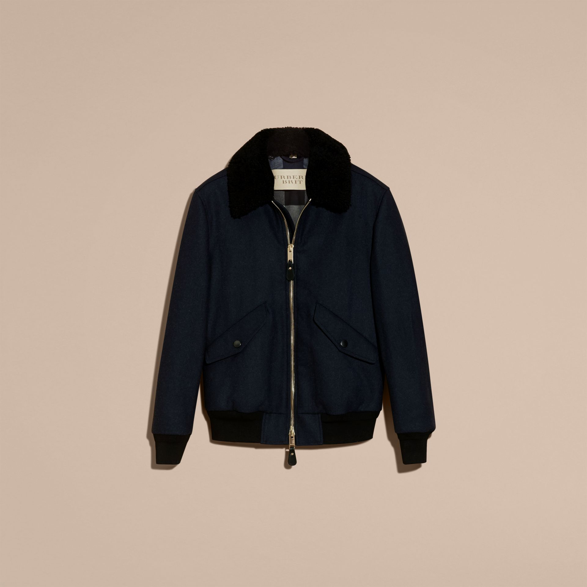 Navy melange Lightweight Wool Bomber Jacket with Detachable Shearling Top Collar - gallery image 4