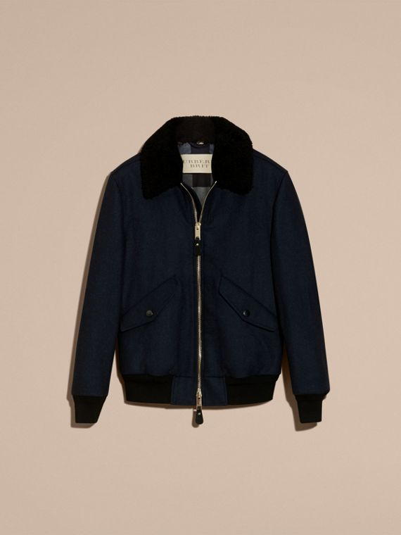 Navy melange Lightweight Wool Bomber Jacket with Detachable Shearling Top Collar - cell image 3