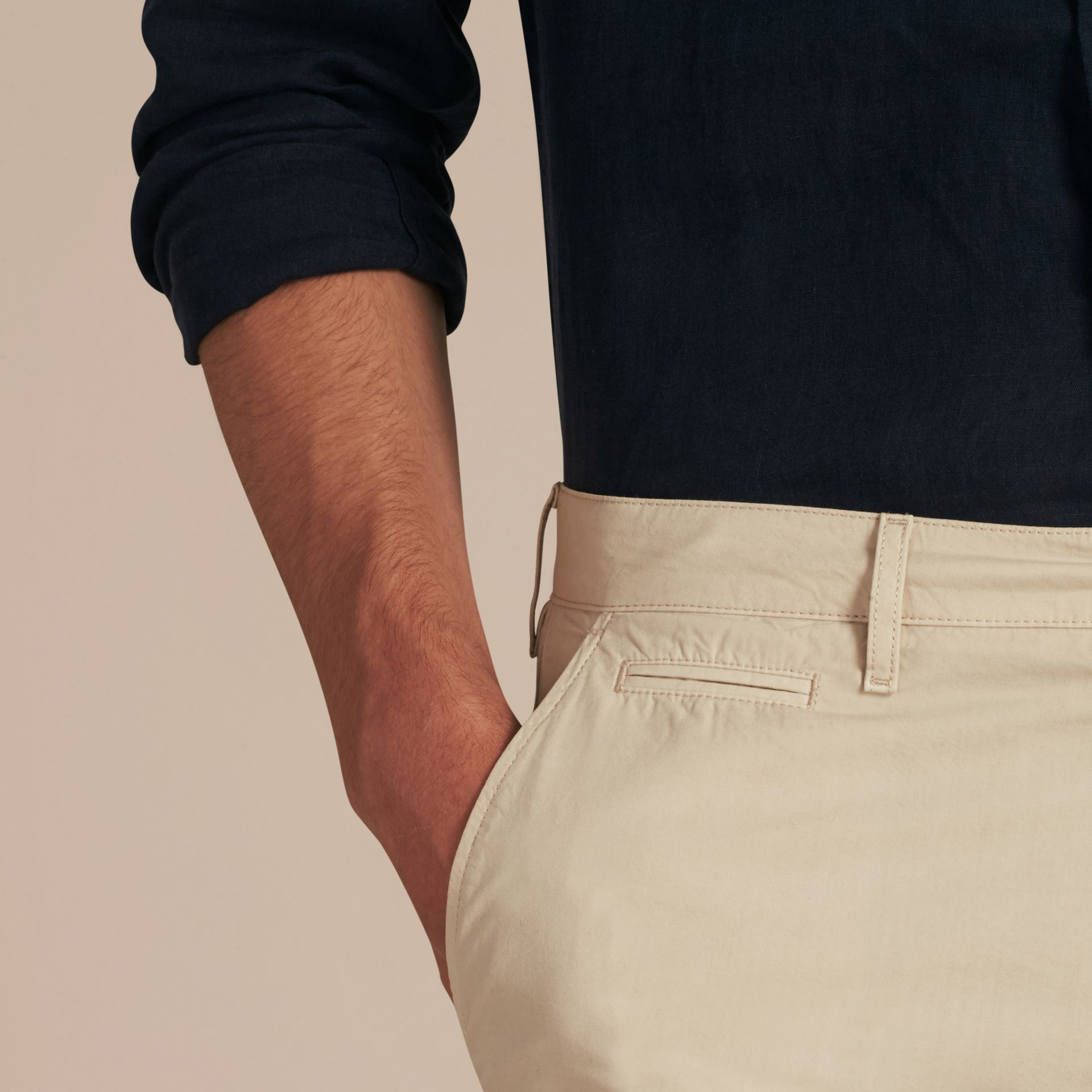 Stone Cotton Poplin Chino Shorts Stone - gallery image 5