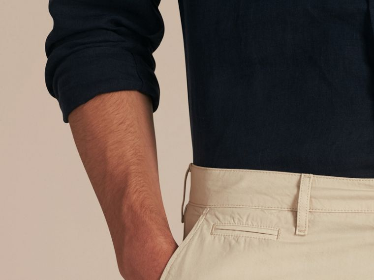Cotton Poplin Chino Shorts in Stone - cell image 4