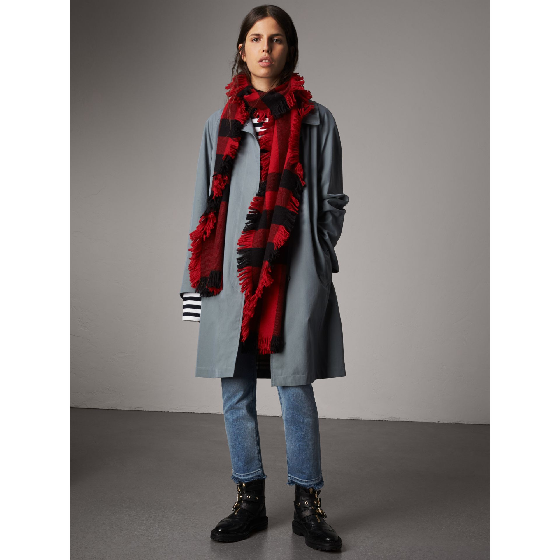 Fringed Check Wool Scarf in Military Red | Burberry United Kingdom - gallery image 3