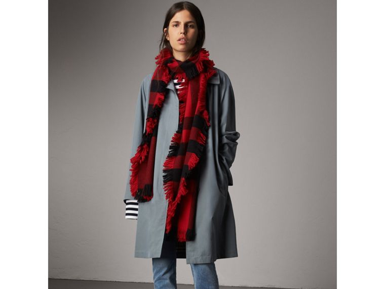 Fringed Check Wool Scarf in Military Red | Burberry Singapore - cell image 2