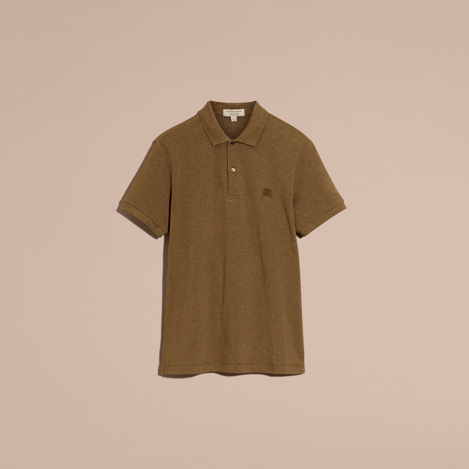 Military green melange Check Placket Cotton Piqué Polo Shirt Military Green Melange - gallery image 4