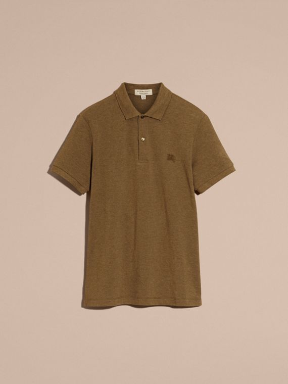 Military green melange Check Placket Cotton Piqué Polo Shirt Military Green Melange - cell image 3