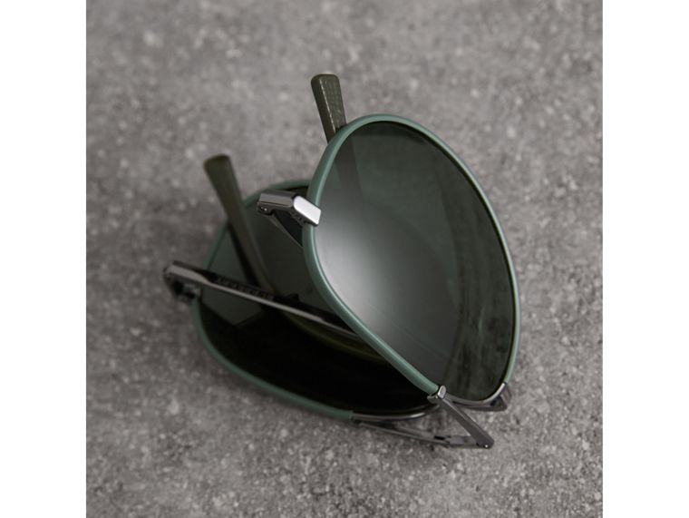 Folding Pilot Sunglasses in Dark Olive - Men | Burberry - cell image 4