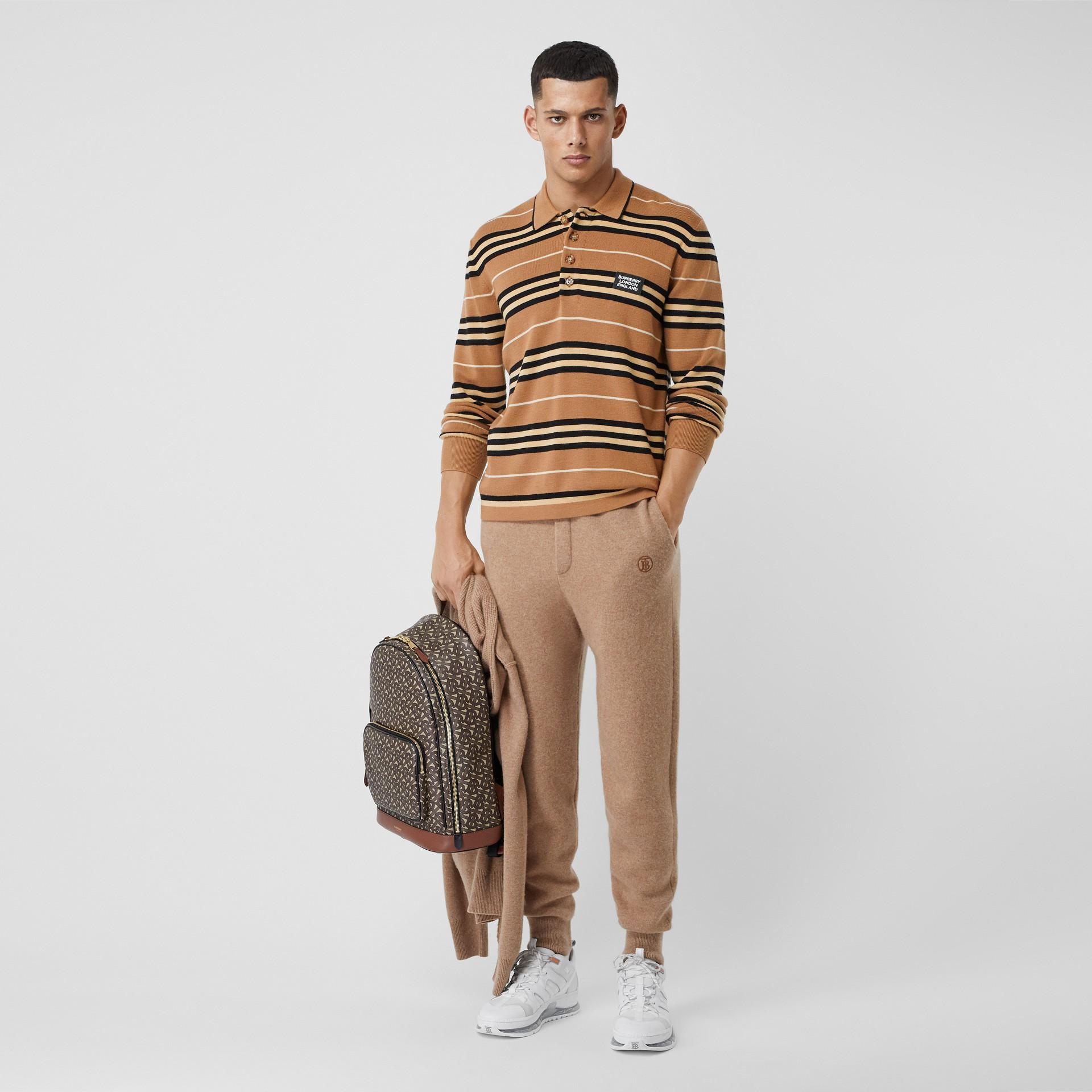 Long-sleeve Icon Stripe Merino Wool Polo Shirt in Warm Walnut - Men | Burberry United Kingdom - gallery image 4