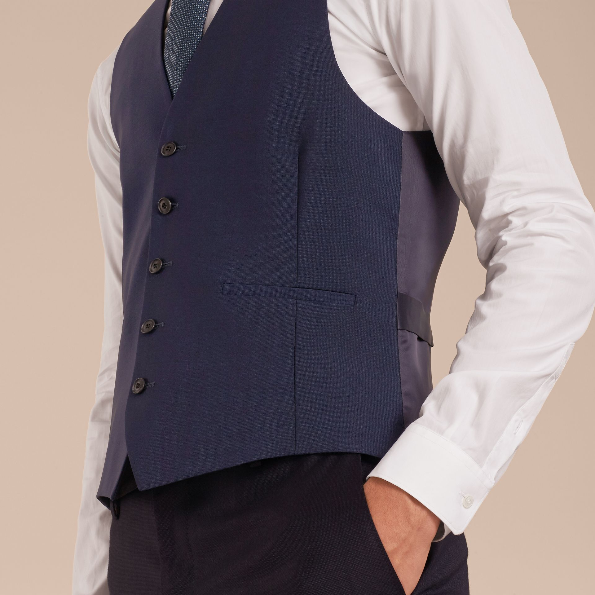 Navy Modern Fit Wool Mohair Tailored Waistcoat - gallery image 5
