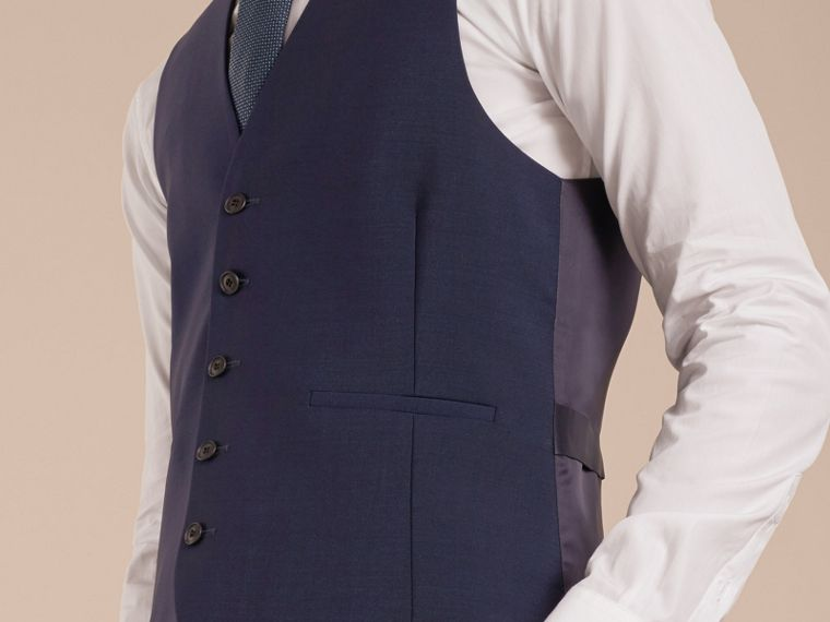 Modern Fit Wool Mohair Tailored Waistcoat in Navy - Men | Burberry Canada - cell image 4