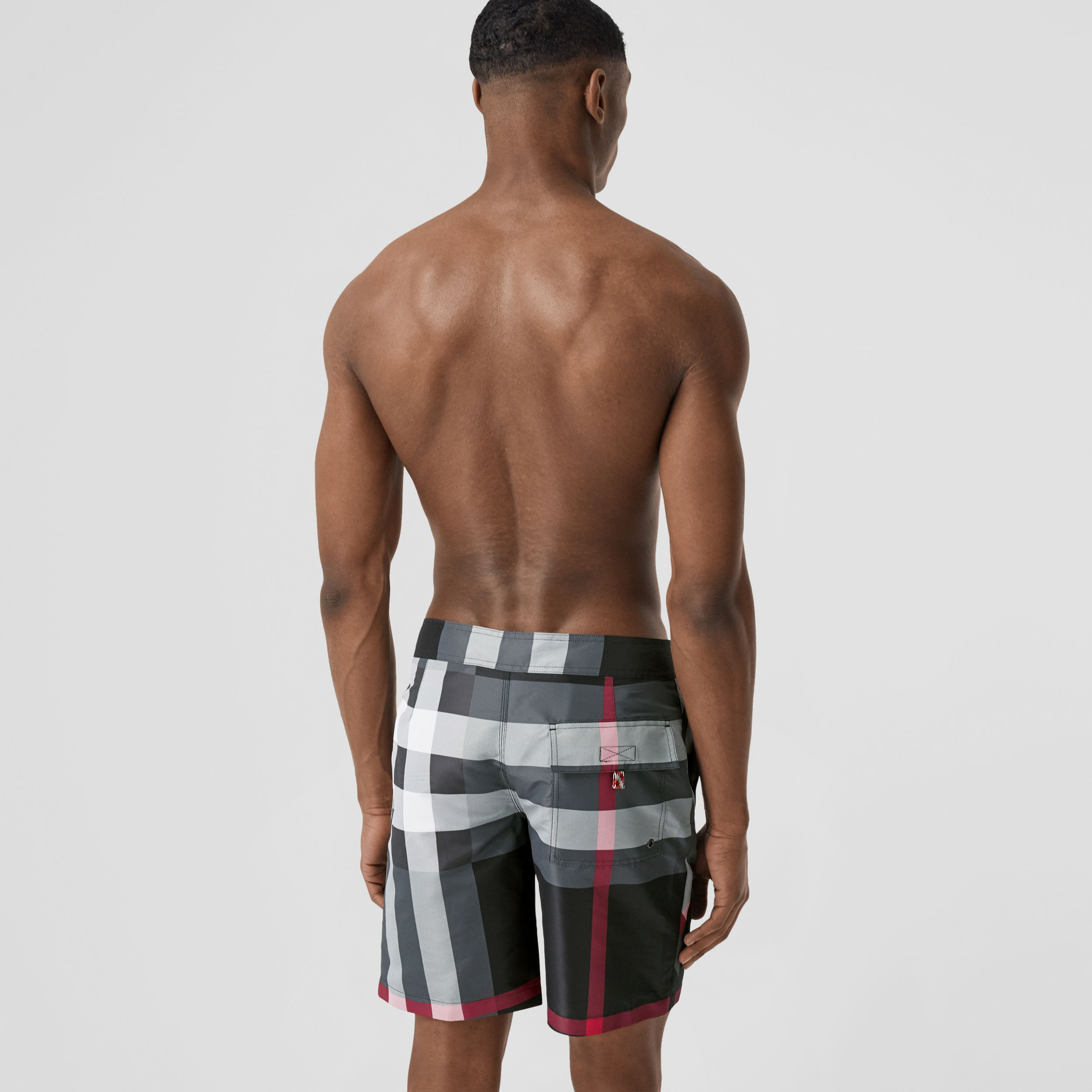 Check Swim Shorts in Charcoal - Men | Burberry - 2
