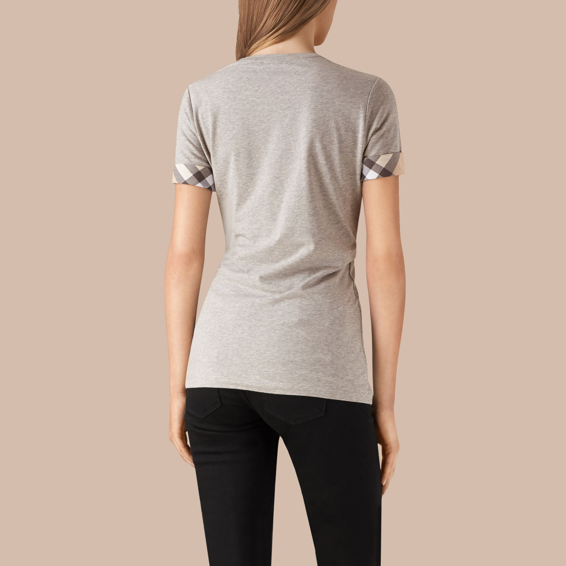 Check Cuff Stretch Cotton T-Shirt in Pale Grey Melange - gallery image 3