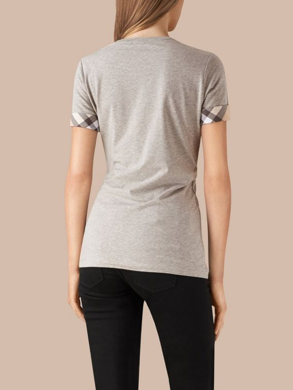 Check Cuff Stretch Cotton T-Shirt in Pale Grey Melange - cell image 2